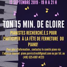 Fête de fermeture du piano du parvis de l'église Saint-Roch